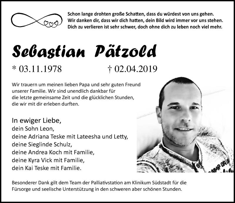 Traueranzeige für Sebastian Pätzold vom 06.04.2019 aus Ostsee-Zeitung GmbH