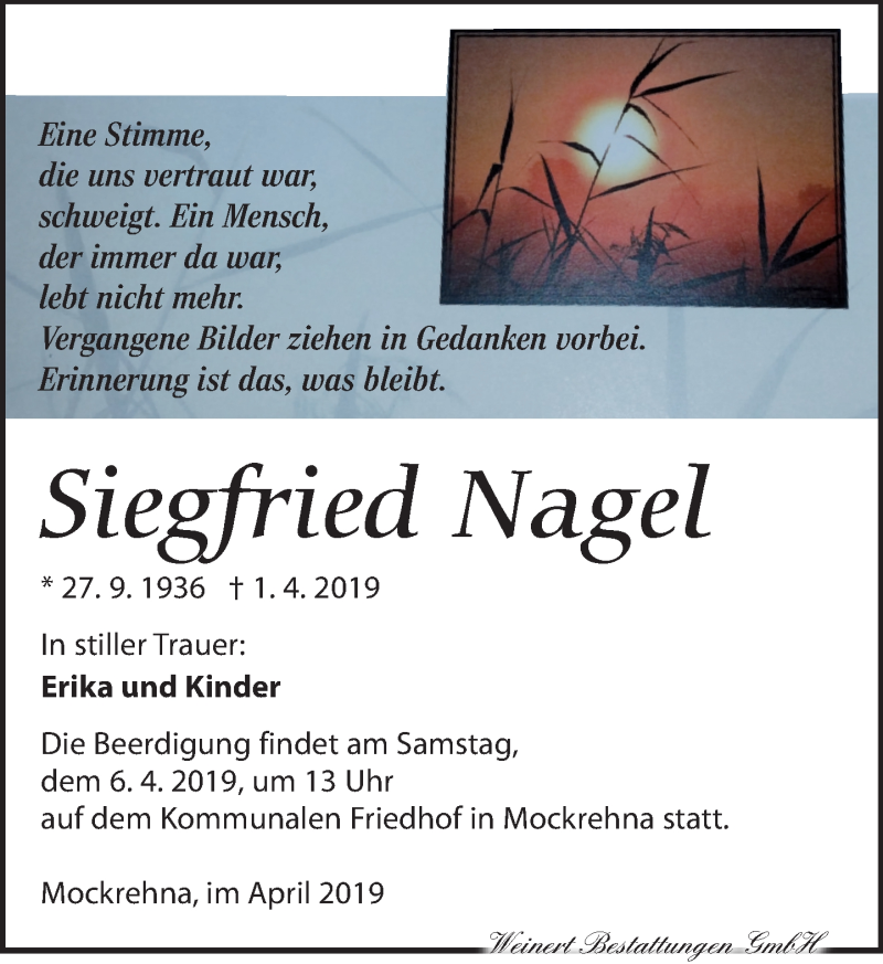 Traueranzeige für Siegfried Nagel vom 04.04.2019 aus Torgauer Zeitung