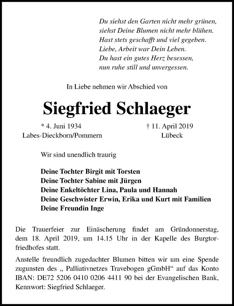 Traueranzeige für Siegfried Schlaeger vom 14.04.2019 aus Lübecker Nachrichten