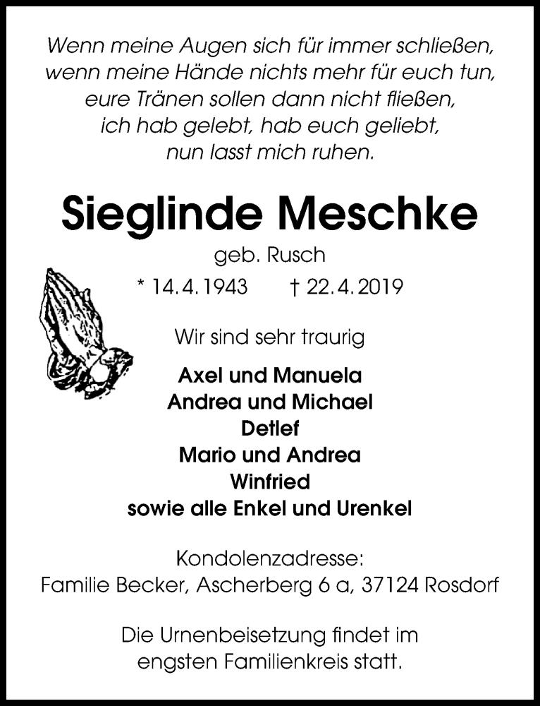Traueranzeige für Sieglinde Meschke vom 27.04.2019 aus Göttinger Tageblatt