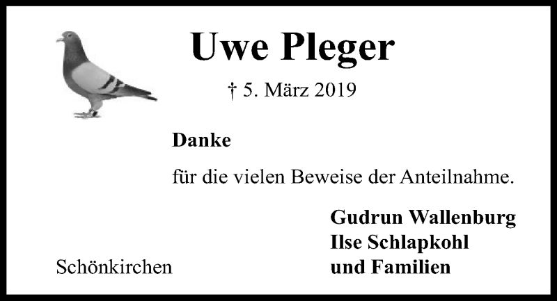 Traueranzeige für Uwe Pleger vom 03.04.2019 aus Kieler Nachrichten