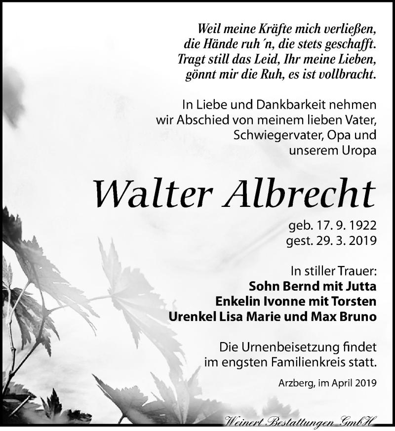 Traueranzeige für Walter Albrecht vom 06.04.2019 aus Torgauer Zeitung