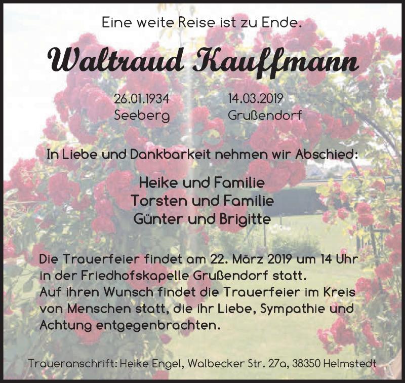 Traueranzeige für Waltraud Kauffmann vom 22.03.2019 aus Aller Zeitung