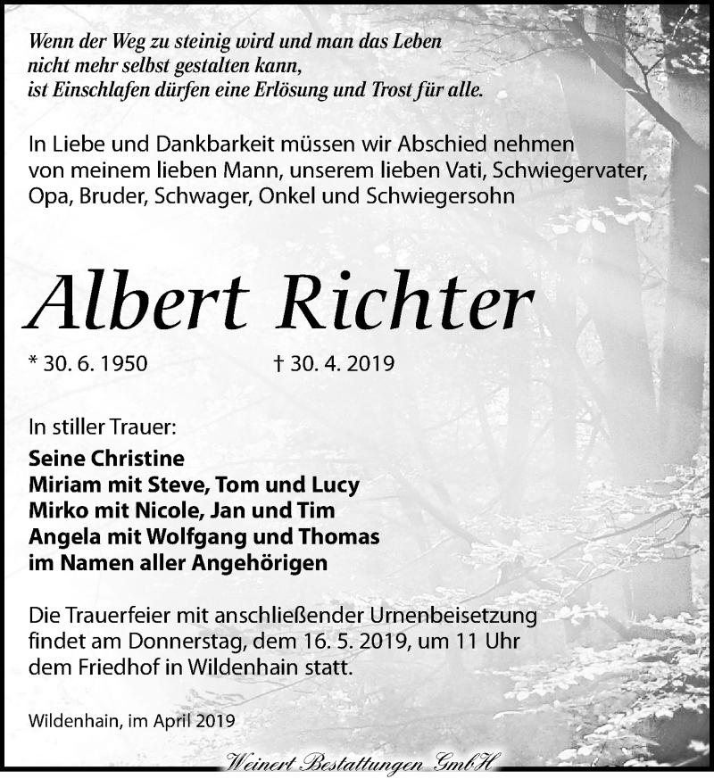 Traueranzeige für Albert Richter vom 11.05.2019 aus Torgauer Zeitung