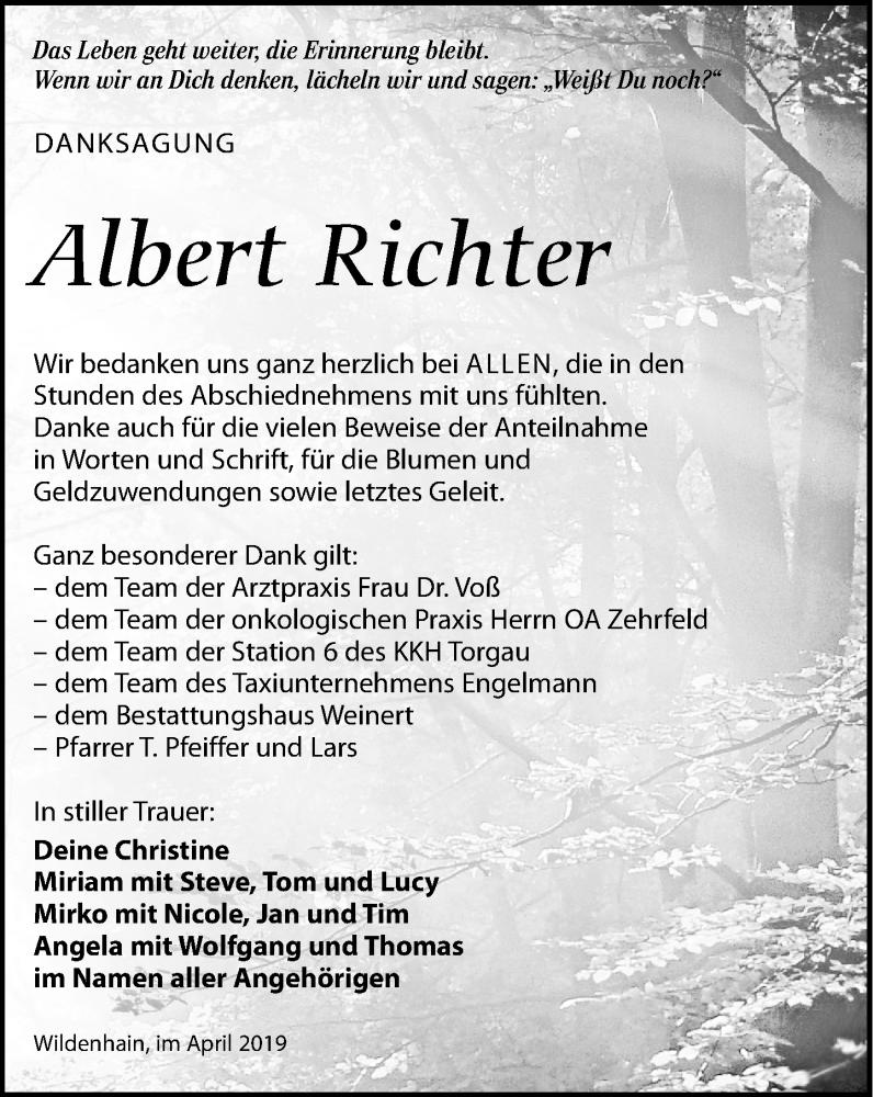 Traueranzeige für Albert Richter vom 25.05.2019 aus Torgauer Zeitung