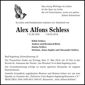 Traueranzeige für Alex Alfons Schless vom 15.05.2019 aus Kieler Nachrichten