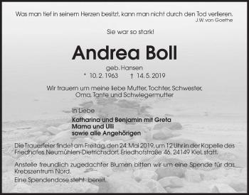 Traueranzeige für Andrea Boll vom 18.05.2019 aus Kieler Nachrichten