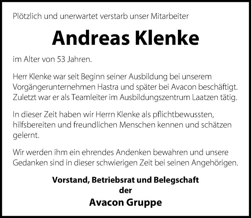 Traueranzeige für Andreas Klenke vom 15.05.2019 aus Hannoversche Allgemeine Zeitung/Neue Presse