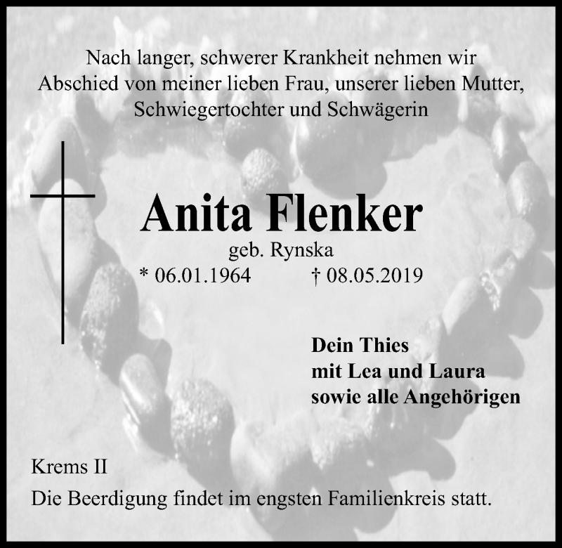 Traueranzeige für Anita Flenker vom 15.05.2019 aus Kieler Nachrichten