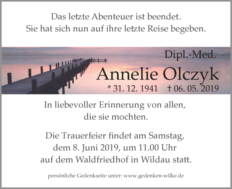Traueranzeige für Annelie Olczyk vom 11.05.2019 aus Märkischen Allgemeine Zeitung