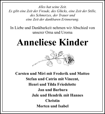 Traueranzeige für Anneliese Kinder vom 18.05.2019 aus Ostsee-Zeitung GmbH