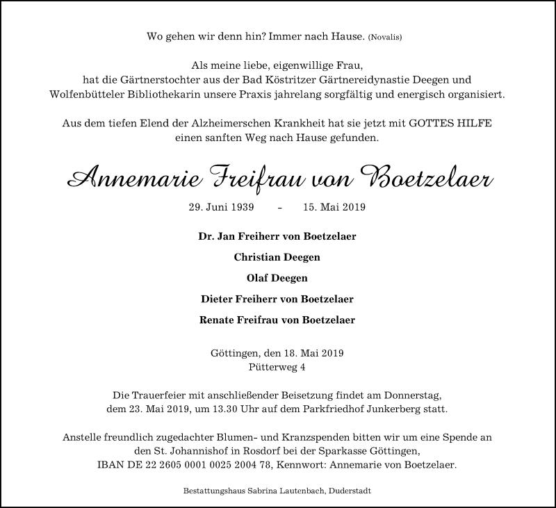 Traueranzeige für Annemarie Freifrau von Boetzelaer vom 18.05.2019 aus Göttinger Tageblatt
