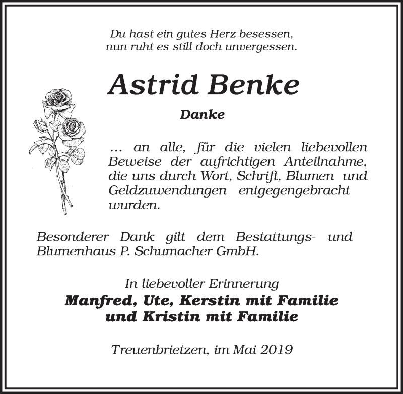 Traueranzeige für Astrid Benke vom 11.05.2019 aus Märkischen Allgemeine Zeitung