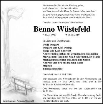 Traueranzeige für Benno Wüstefelld vom 15.05.2019 aus Eichsfelder Tageblatt