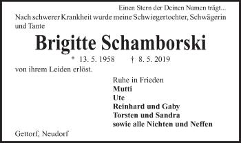 Traueranzeige für Brigitte Schamborski vom 11.05.2019 aus Kieler Nachrichten