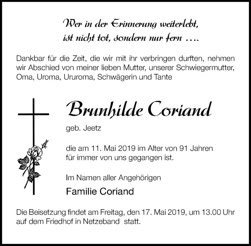 Traueranzeige für Brunhilde Coriand vom 15.05.2019 aus Märkischen Allgemeine Zeitung