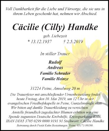Traueranzeige für Cäcilie Cilly Handke vom 10.05.2019 aus Peiner Allgemeine Zeitung