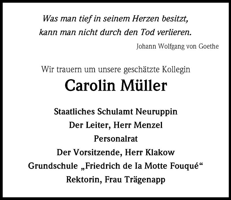 Traueranzeige für Carolin Müller vom 03.05.2019 aus Märkischen Allgemeine Zeitung