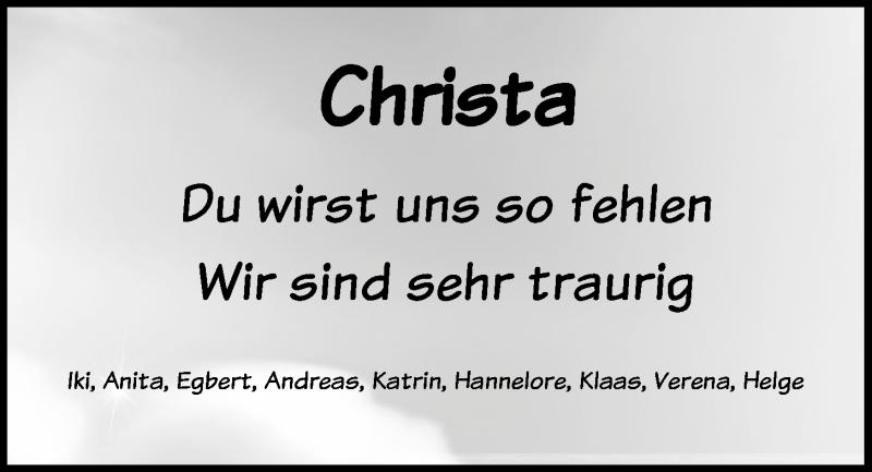 Traueranzeige für Christa Kabel-Windloff vom 15.05.2019 aus Kieler Nachrichten