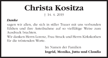 Traueranzeige für Christa Kositza vom 04.05.2019 aus Kieler Nachrichten