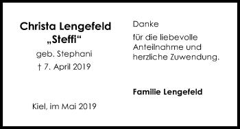 Traueranzeige für Christa Lengefeld vom 18.05.2019 aus Kieler Nachrichten