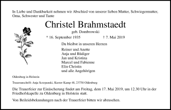 Traueranzeige für Christel Brahmstaedt vom 11.05.2019 aus Lübecker Nachrichten