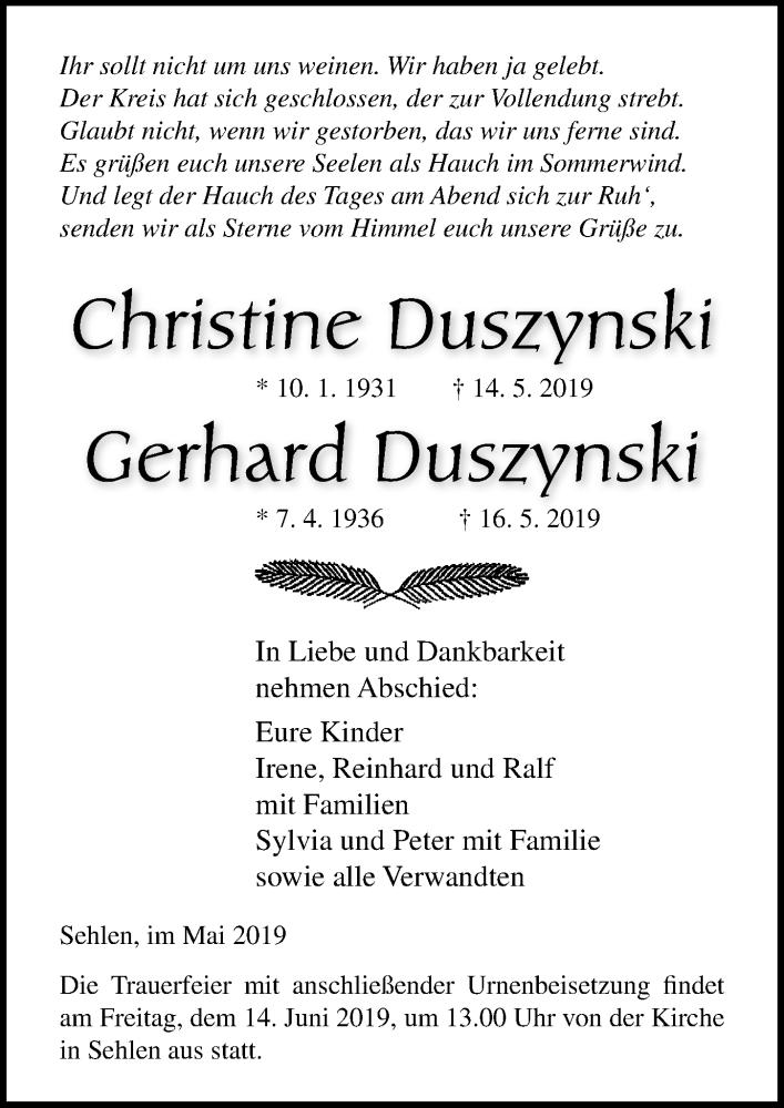Traueranzeige für Christine Duszynski vom 18.05.2019 aus Ostsee-Zeitung GmbH