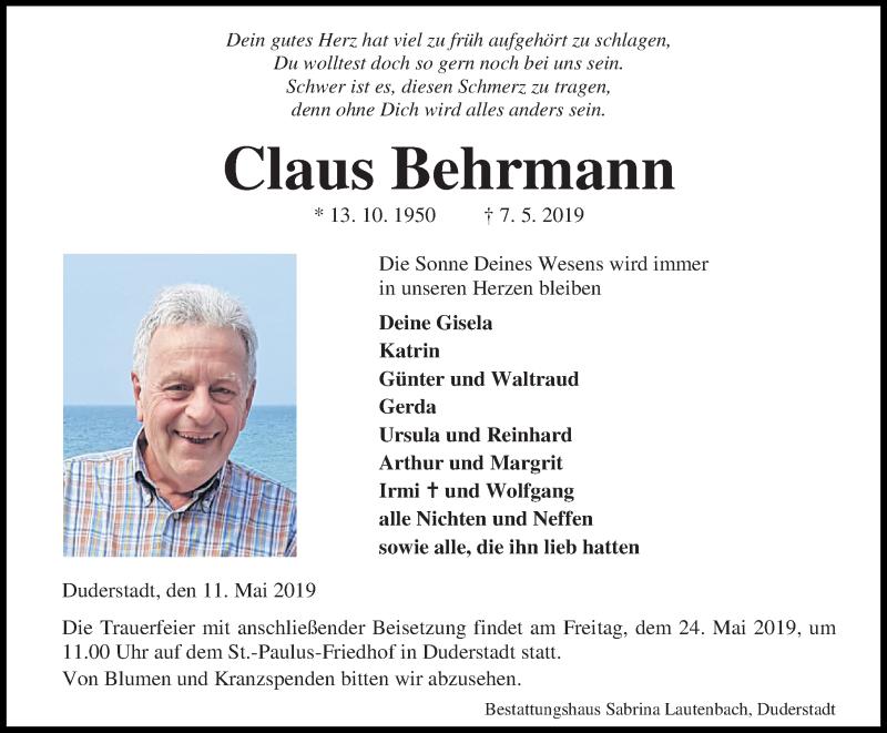 Traueranzeige für Claus Behrmann vom 11.05.2019 aus Eichsfelder Tageblatt