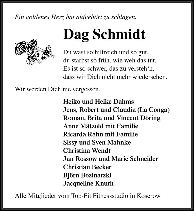 Traueranzeige für Dag Schmidt vom 25.05.2019 aus Ostsee-Zeitung GmbH