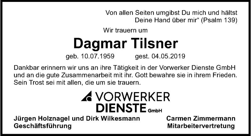 Traueranzeige für Dagmar Tilsner vom 12.05.2019 aus Lübecker Nachrichten