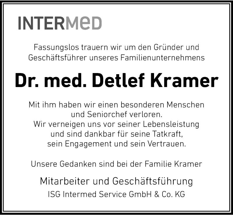 Traueranzeige für Detlef Kramer vom 11.05.2019 aus Lübecker Nachrichten