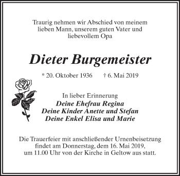 Traueranzeige für Dieter Burgemeister vom 11.05.2019 aus Märkischen Allgemeine Zeitung