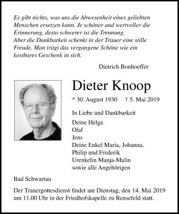 Traueranzeige für Dieter Knoop vom 12.05.2019 aus Lübecker Nachrichten