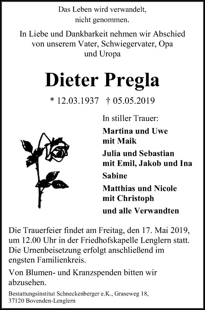 Traueranzeige für Dieter Pregla vom 11.05.2019 aus Göttinger Tageblatt