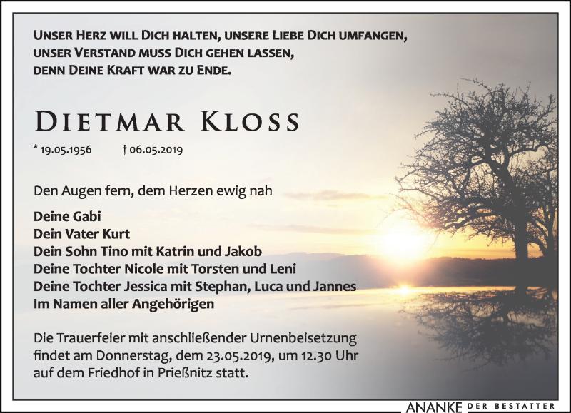 Traueranzeige für Dietmar Kloss vom 11.05.2019 aus Leipziger Volkszeitung