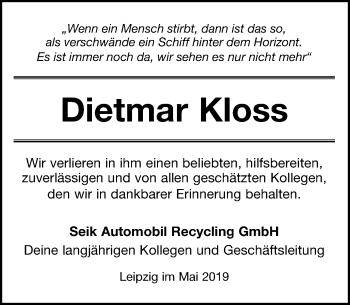 Traueranzeige für Dietmar Kloss vom 18.05.2019 aus Leipziger Volkszeitung