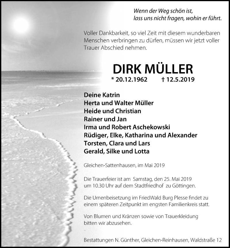 Traueranzeige für Dirk Müller vom 18.05.2019 aus Göttinger Tageblatt