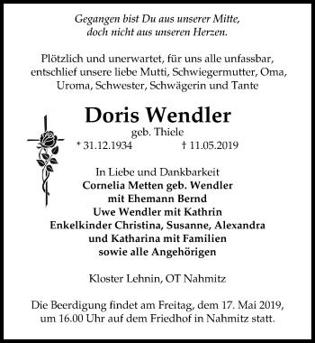 Traueranzeige für Doris Wendler vom 15.05.2019 aus Märkischen Allgemeine Zeitung
