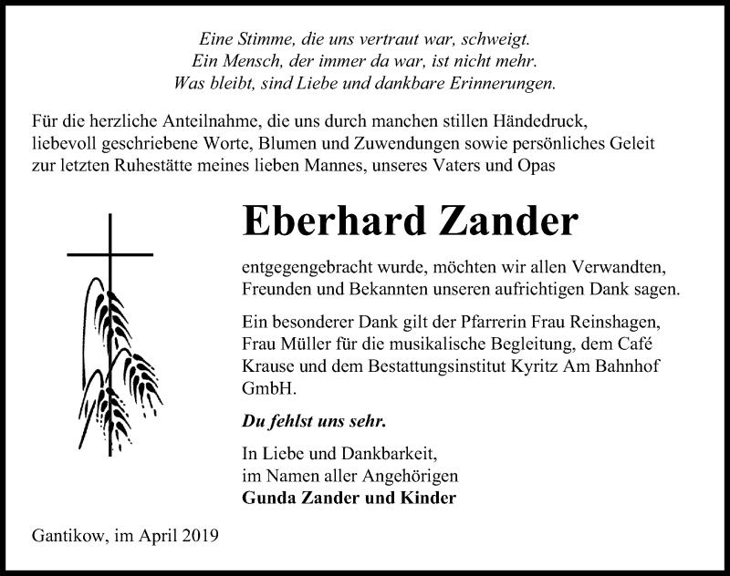 Traueranzeige für Eberhard Zander vom 20.04.2019 aus Märkischen Allgemeine Zeitung