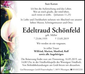 Traueranzeige für Edeltraud Schönfeld vom 16.05.2019 aus Hannoversche Allgemeine Zeitung/Neue Presse