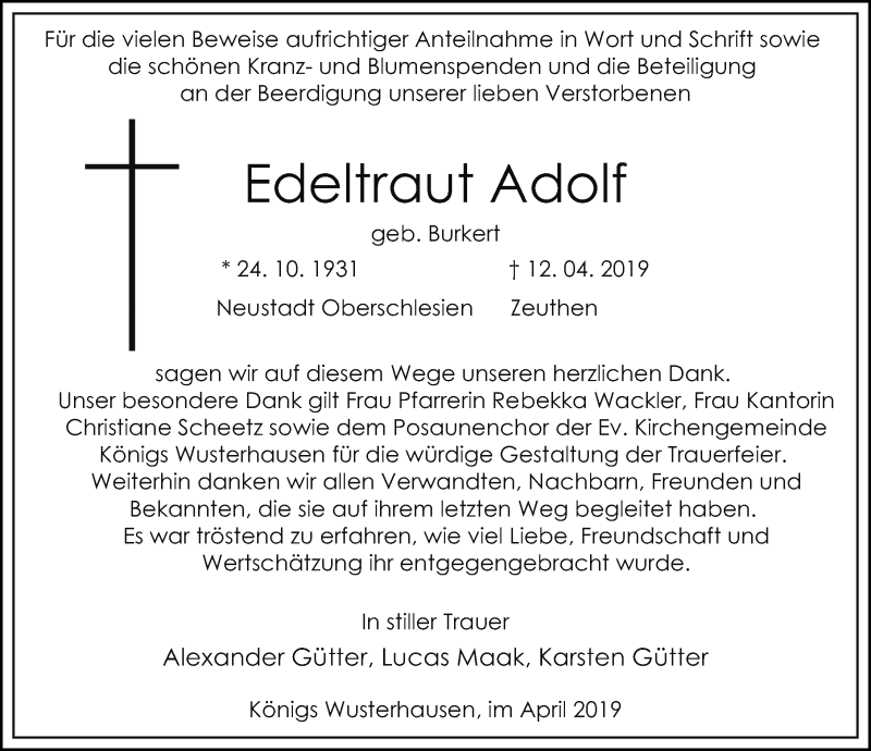 Traueranzeige für Edeltraut Adolf vom 27.04.2019 aus Märkischen Allgemeine Zeitung