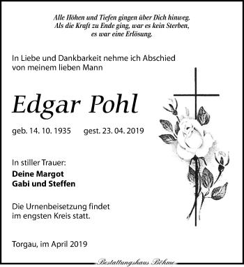 Traueranzeige für Edgar Pohl vom 27.04.2019 aus Torgauer Zeitung