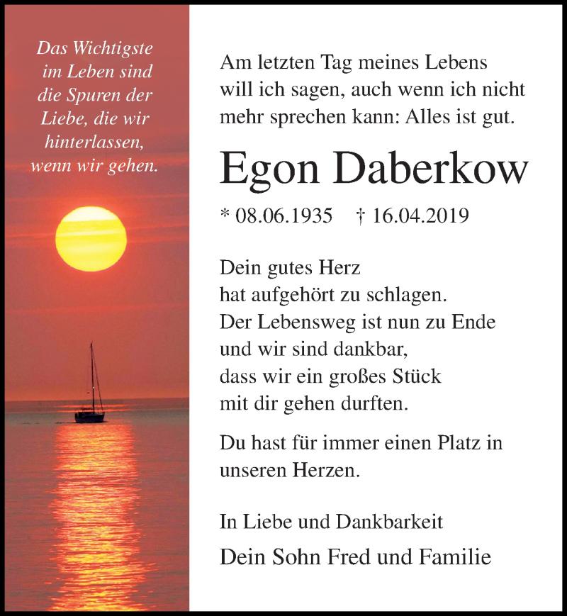Traueranzeige für Egon Daberkow vom 04.05.2019 aus Ostsee-Zeitung GmbH