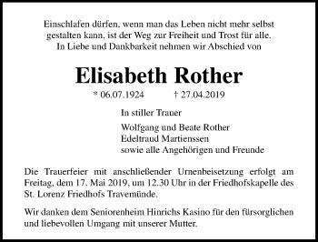 Traueranzeige für Elisabeth Rother vom 12.05.2019 aus Lübecker Nachrichten