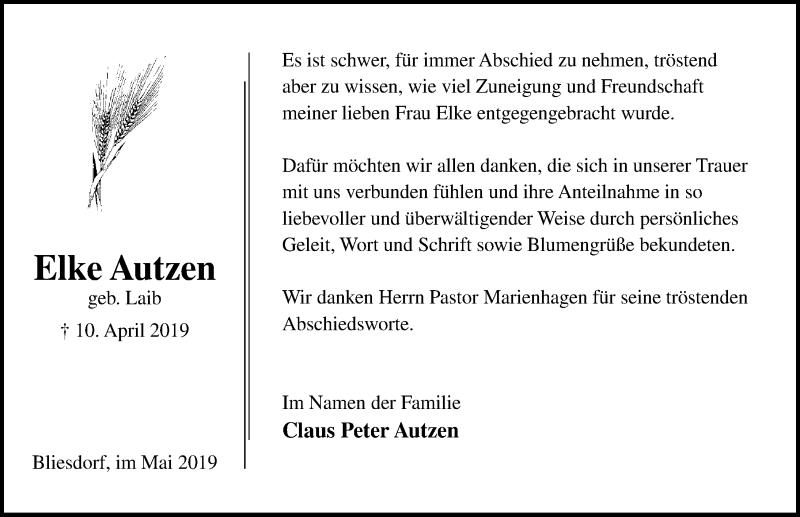 Traueranzeige für Elke Autzen vom 04.05.2019 aus Lübecker Nachrichten