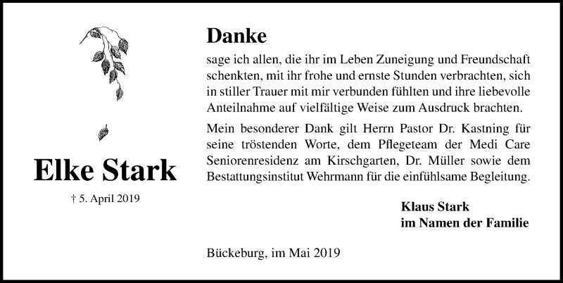 Traueranzeige für Elke Stark vom 04.05.2019 aus Schaumburger Nachrichten