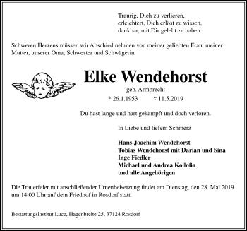 Traueranzeige für Elke Wendehorst vom 18.05.2019 aus Göttinger Tageblatt
