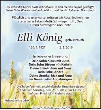 Traueranzeige für Elli König vom 11.05.2019 aus Torgauer Zeitung