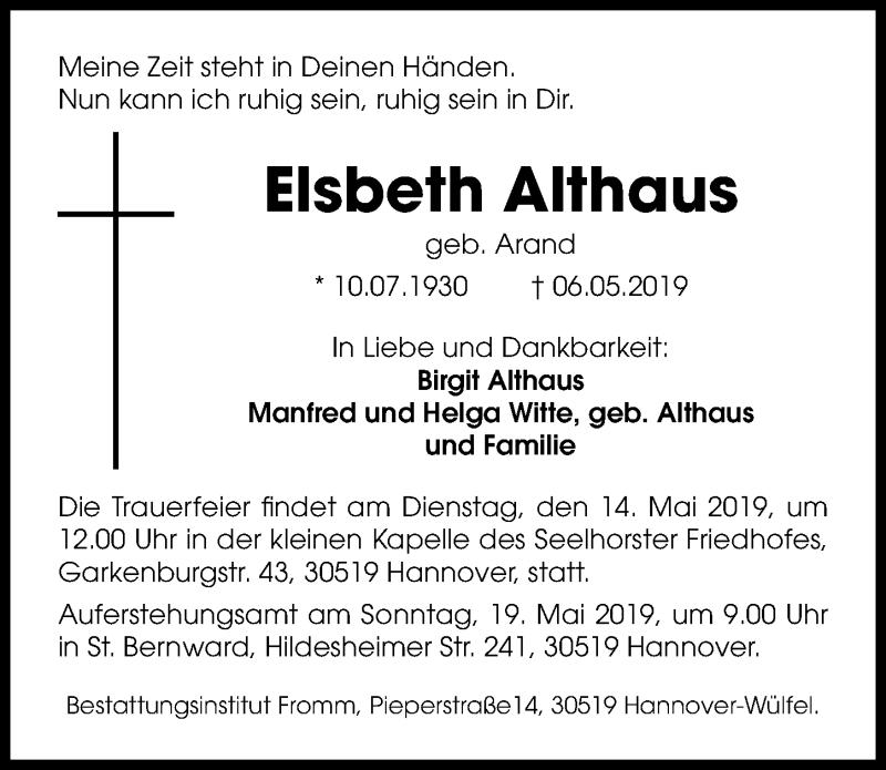 Traueranzeige für Elsbeth Althaus vom 11.05.2019 aus Hannoversche Allgemeine Zeitung/Neue Presse