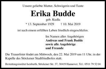 Traueranzeige für Erika Budde vom 15.05.2019 aus Hannoversche Allgemeine Zeitung/Neue Presse
